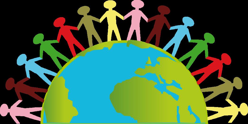 Grafik Erde mit Kindern